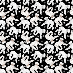 Trotting Bedlington Terriers and paw prints - black