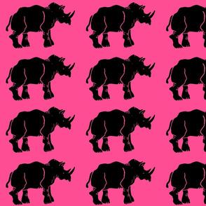 Black Rhino on Hot Pink