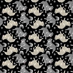 Trotting Swedish Vallhunds and paw prints - black