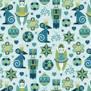 Festive Nutcracker blue on blue