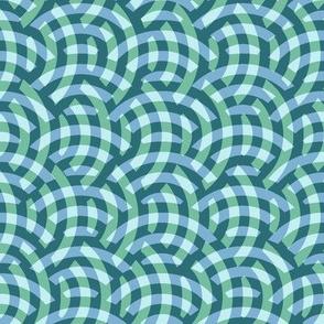 soft aqua woven circles