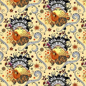 """Swirling Piano Keys and Faces (Mustard Background)- Music Notes Guitars Eyes- From """"Face The Music"""" collection)"""