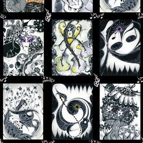 """Music Notes- Black and White Panels-Rockin' Rectangles (from """"Face The Music"""" collection)"""
