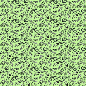 Ornate Music Notes- Small Green