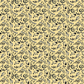 """Ornate Music Notes- Small Mustard (from """"Face The Music"""" collection)"""