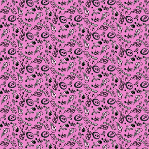 Ornate Music Notes- Small Magenta