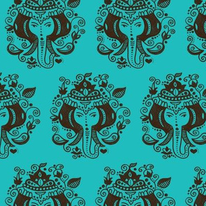 Oriental india Ganesh elephant in bright blue