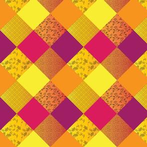 Bright Quilt in Warm Tones