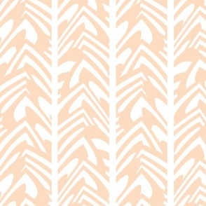 chevron feather in peach on white