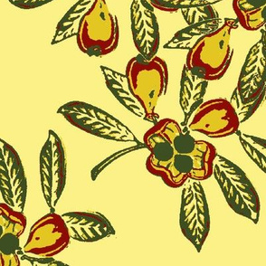 Linstead Market, yellow background, green seeds