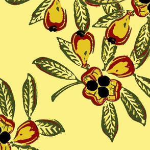 Linstead Market, yellow background, black seeds