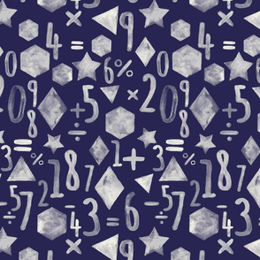 Painting and Numbers - monochromatic maths in cream & navy