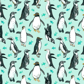 Watercolor Penguins with little Teal Fish on Mint