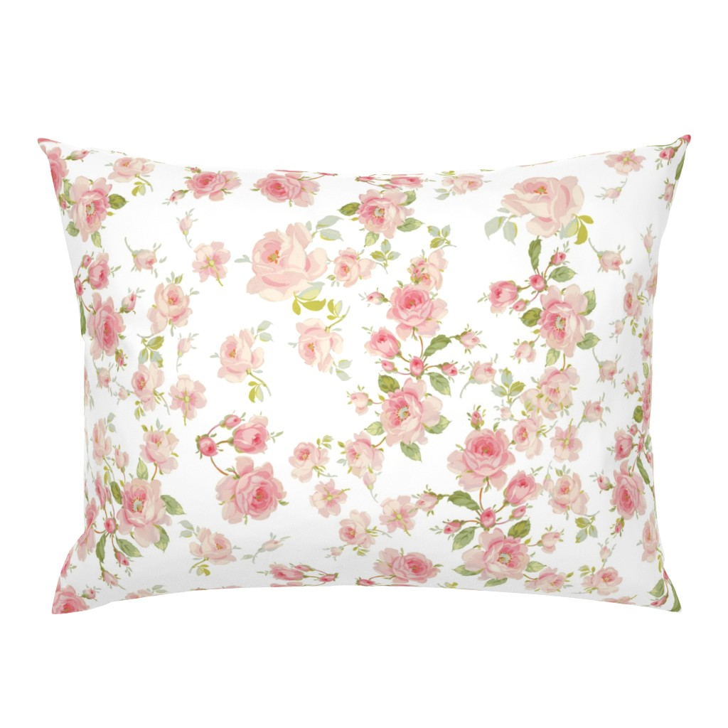 Campine Pillow Sham featuring Saint Colette June Roses in peony pink on white by lilyoake