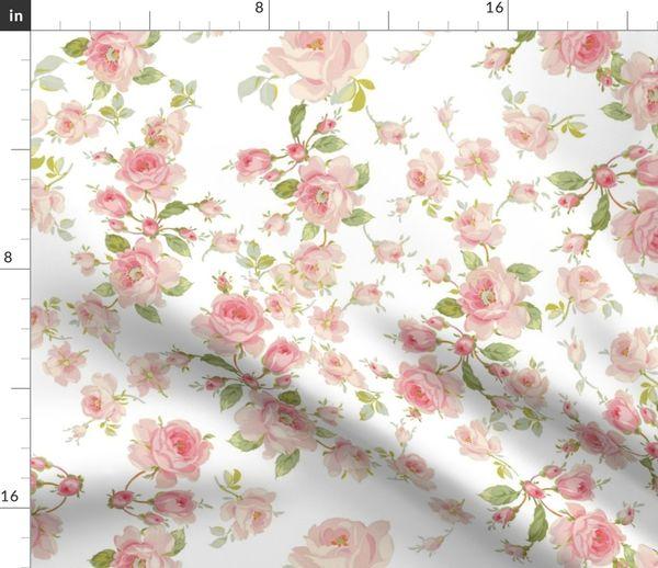 Stoff-Meterware Blumen, Vintage, Shabby Chic, Botanik, rosa und weiß