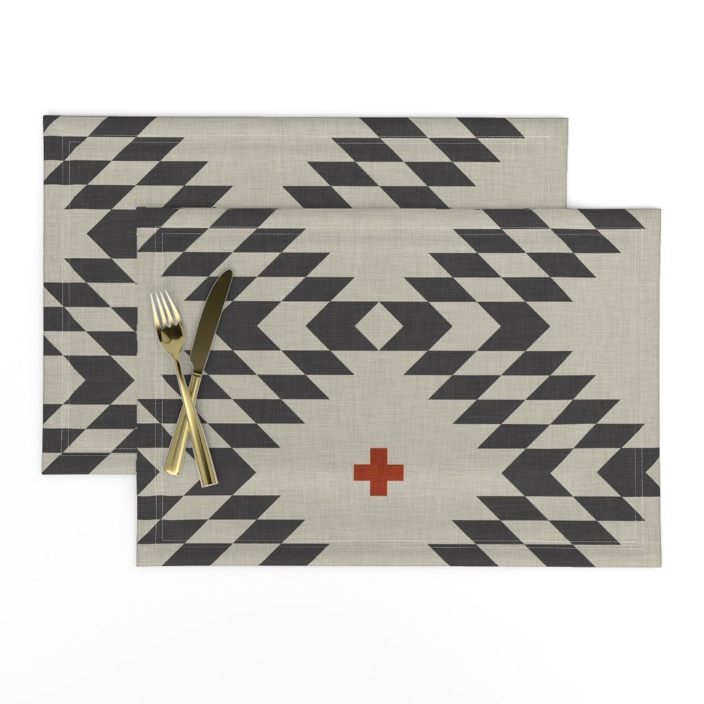 Lamona Cloth Placemats featuring native natural orange large by holli_zollinger