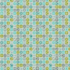 Math symbols blue green
