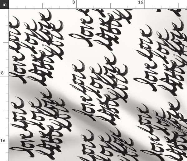 Love In Cursive Ink Starkly Black Wh Spoonflower Much love from your in cursive bois. spoonflower