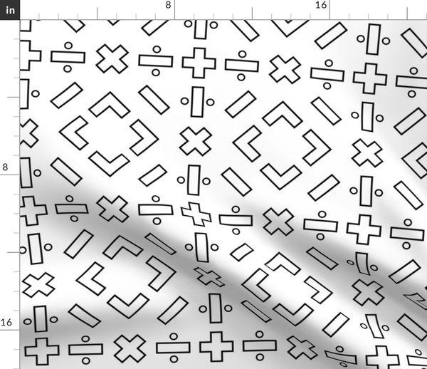 Fabric by the Yard math symbols - black on white