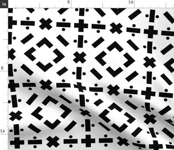 math symbols - solid black on white - Spoonflower