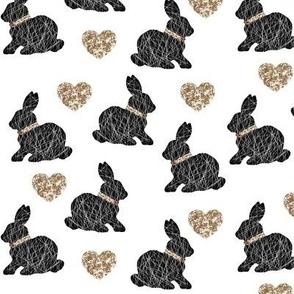 black bunny gold hearts