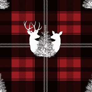 Buffalo Plaid Red Stag and Doe