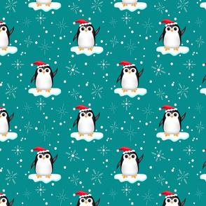 Floating Santa Penguins