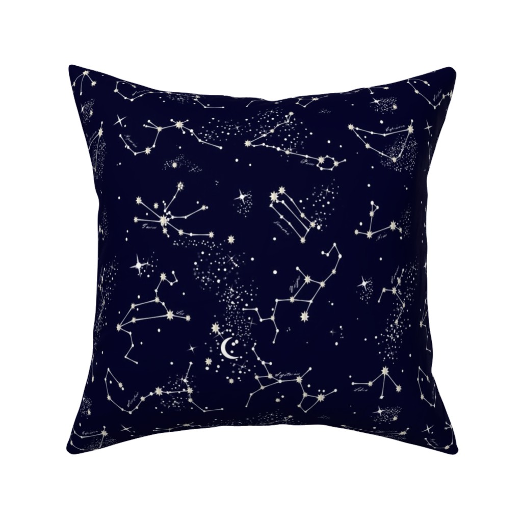 Catalan Throw Pillow featuring Zodiac Constellations in Night Navy by elliottdesignfactory
