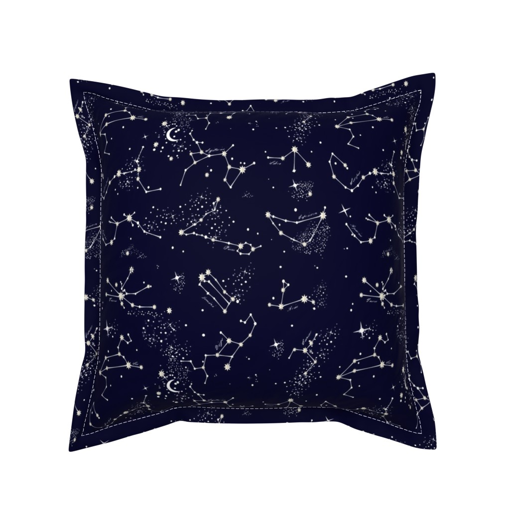 Serama Throw Pillow featuring Zodiac Constellations in Night Navy by elliottdesignfactory