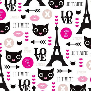 Paris mon amour cute eiffel tower kitten and love icons for valentines day