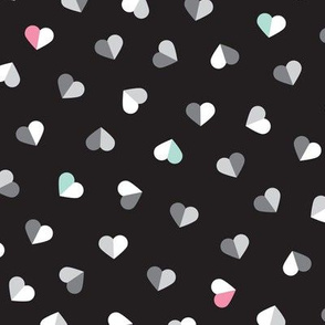 Abstract scandinavian style pastel pink mint and black hearts love print for Valentine
