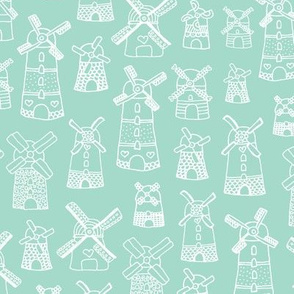 Soft blue mint windmill illustration Holland travel pattern
