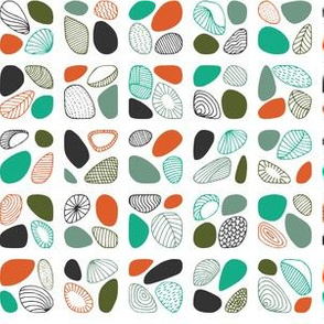 Abstract shells (forest green and orange)