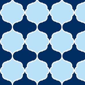 Hexafoil Baby Blue Navy White