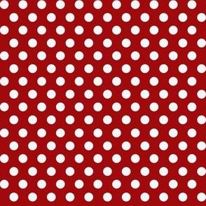Mushroom Madness Polka Dots White on Red