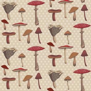 Mushroom Madness Two Polka Dots in Cream