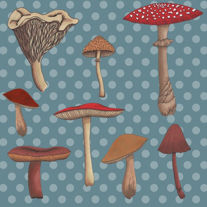 Large Mushroom Madness Two with Polka Dots