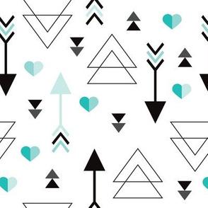 Geometric arrow and heart love illustration indian theme illustration print