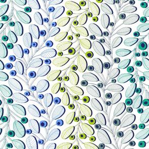 Branches bleu-vert
