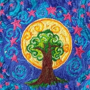 Embroidered Tree Moon and Stars on Blue Swirly Sky