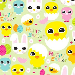 Happy easter chicken and bunny spring coloeful egg illustration pattern