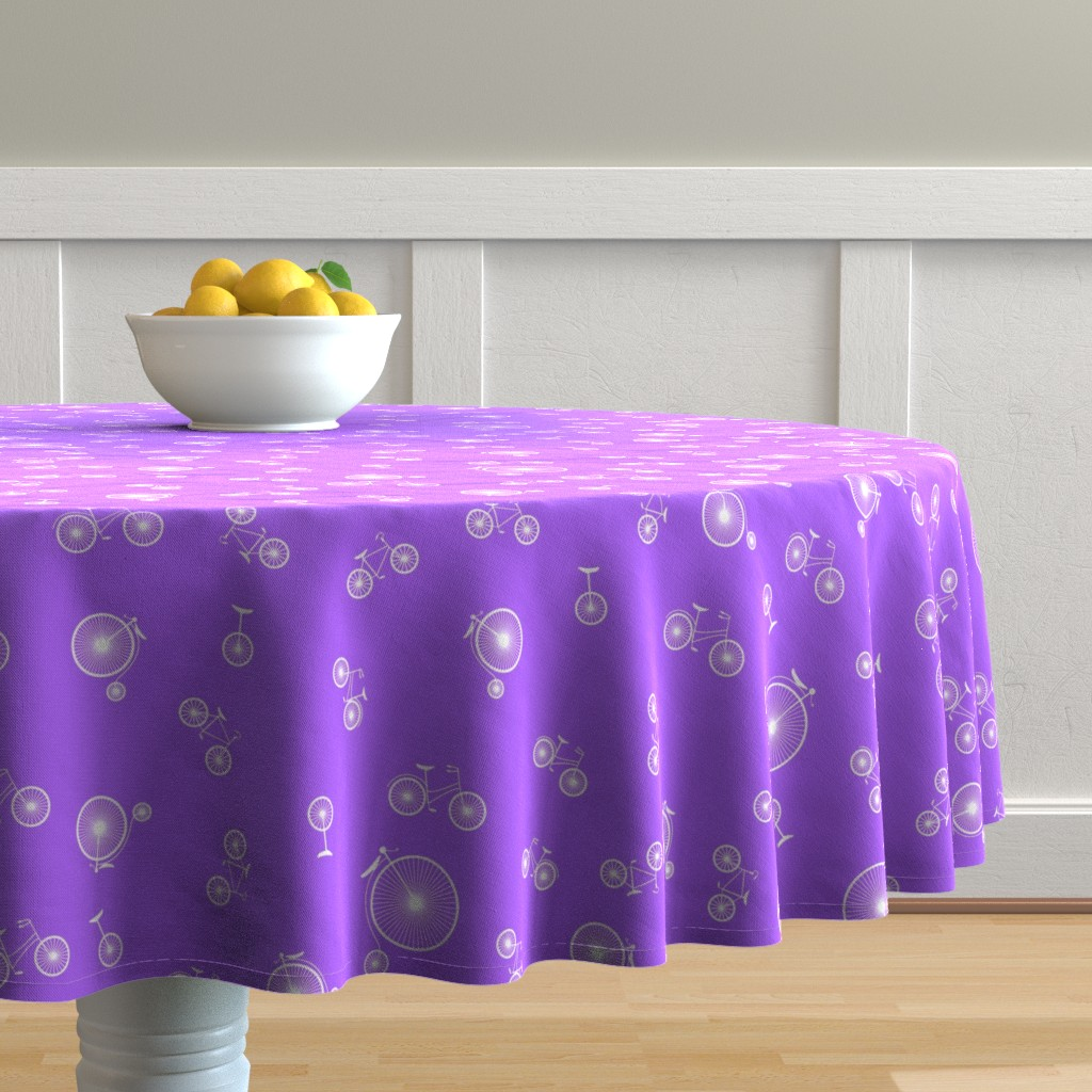 Malay Round Tablecloth featuring Bicycles on Purple by candyjoyce