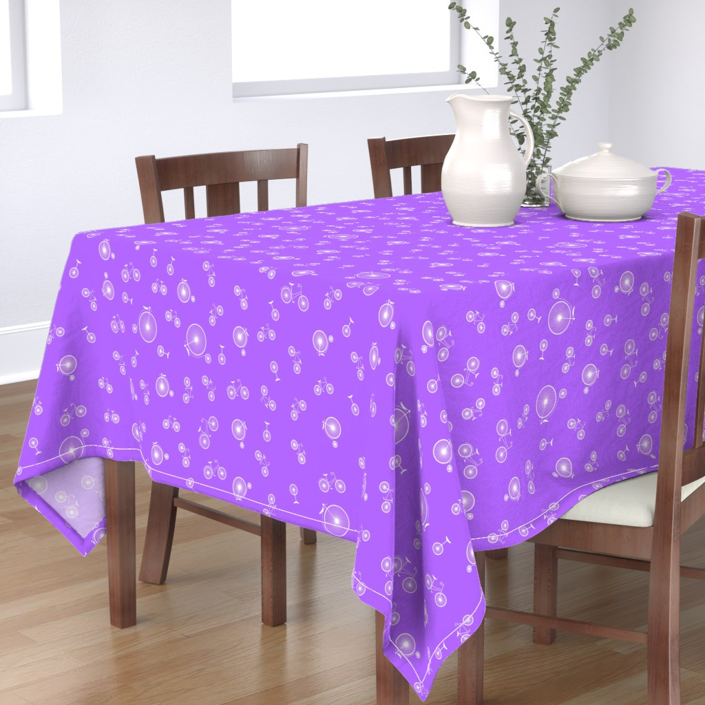 Bantam Rectangular Tablecloth featuring Bicycles on Purple by candyjoyce
