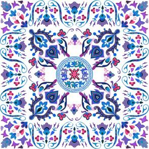 Sweet Ramona ~ Folk Art Tile ~ Winter White
