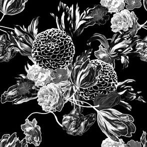 mid century modern floral ~ black and white