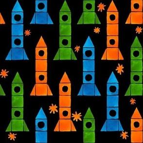 Watercolor Rockets and Stars