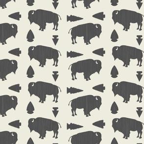 Buffalo & Arrowheads-Dark Gray & Cream