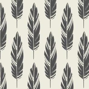 Feathers-Cream & Dark Gray
