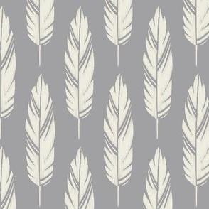 Feathers-Light Gray & Cream