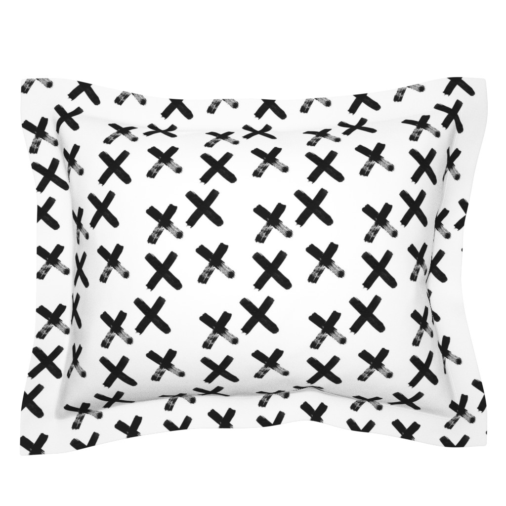 Sebright Pillow Sham featuring Black X  - elvelyckan by elevenhatsdesign